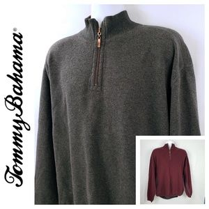 Tommy Bahama Mens Grey Maroon quarter-zip pullover